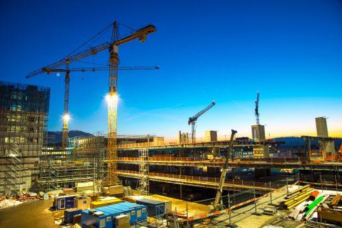 cranes at building