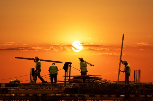workers sunset